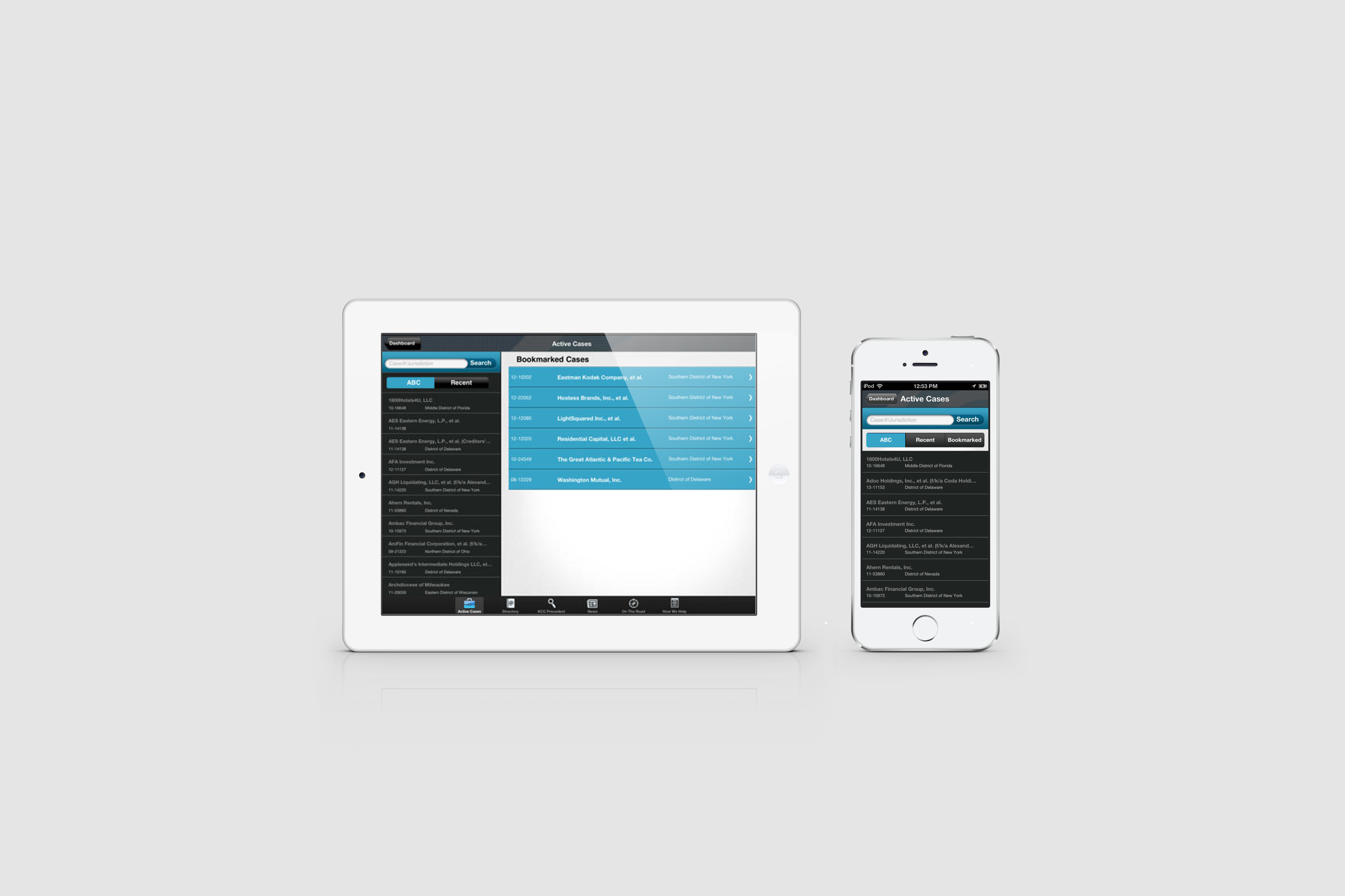 image of the KCC iOS app on an iPad and iPhone